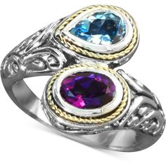 Balissima by Effy Blue Topaz (3/4 ct. t.w.) and Amethyst (3/4 ct. ($210) ❤ liked on Polyvore featuring jewelry, rings, no color, sterling silver blue topaz ring, blue topaz gold ring, 18 karat gold ring, yellow gold amethyst ring and 18k ring