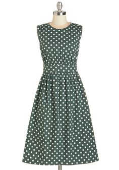 Too Much Fun Dress in Forest Creme - Long. Theres no such thing as overloading on fun, but if it were possible, why not go all-out in this adorable sleeveless dress? #green #modcloth