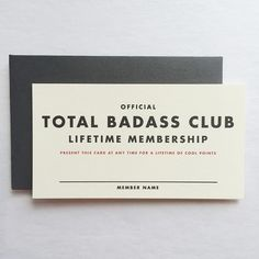 Official Lifetime Membership Card: Total Badass by ShopRedArrow Name Cards, Spreads, Badass, Cards Against Humanity, Names, Graphics, Graphic Design, Prints, Handmade