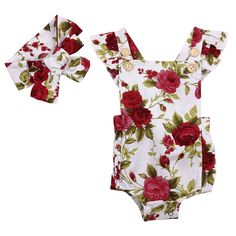 2PC Baby Girl Cute Floral Printed Halter Cotton Sleeveless Romper and Headband Casual Outfits Girls Clothes Set For 6-24M #CuteOutfits