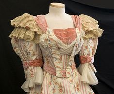 Victorian Vintage Clothing at Vintage Textile: #2004 Fox silk gownFox watered silk, ribbon-weave gown, c.1895