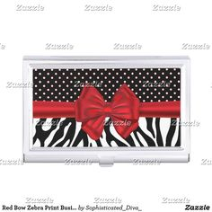 Red Bow Zebra Print Business Card Holder