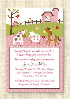 Pink Farm Animal Baby Shower Invitation by LittlePrintsParties, $10.00