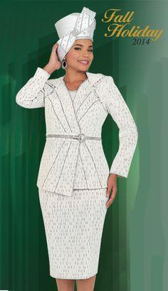 BM47602 -  239 Matching Hat -  139  FirstSundayWhite  SilverDetailing   Gorgeous Women Church Suits 8f4b0dcb6d3