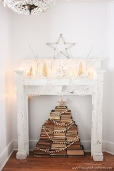 Thoughts from Alice: Vintage Stacked Book Christmas Tree {inside our mantel}
