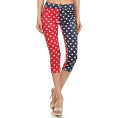 Women's HoneyComfy Star Spangled- American Flag Jegging-Capr ($18) ❤ liked on Polyvore featuring pants, leggings, activewear, red, white capri pants, red leggings, red capris, jeggings leggings and white leggings