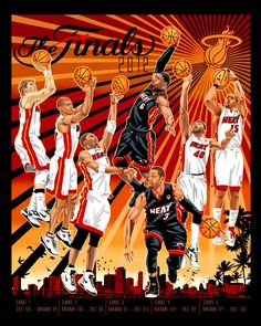 Miami Heat 2012 championship art print by Mark Sgarbossa, available as limited edition fine art prints and stretched canvases at RareInk.com. $69.