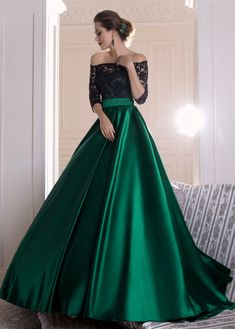 Graceful Lace Prom Dress, Green Satin Long Prom Dress, Off-the-shoulder A-line Evening Dress With Pleats · Friday Dresses · Online Store Powered by Storenvy Prom Dresses Long With Sleeves, Black Prom Dresses, A Line Prom Dresses, Satin Dresses, Pretty Dresses, Beautiful Dresses, Dress Long, Long Dresses, Dress Prom