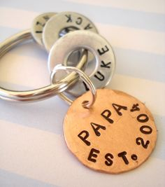 Gift for DADDY - DAD - PAPA - Personalized Hand Stamped Key Chain - Washer Key Chain and Copper Disc. $22.95, via Etsy.