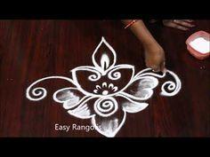 Easy deepam muggulu designs // diya rangolis//Easy Rangolis - YouTube Best Rangoli Design, Easy Rangoli Designs Diwali, Rangoli Designs Latest, Small Rangoli Design, Rangoli Borders, Rangoli Border Designs, Rangoli Designs With Dots, Kolam Designs, Simple Flower Rangoli