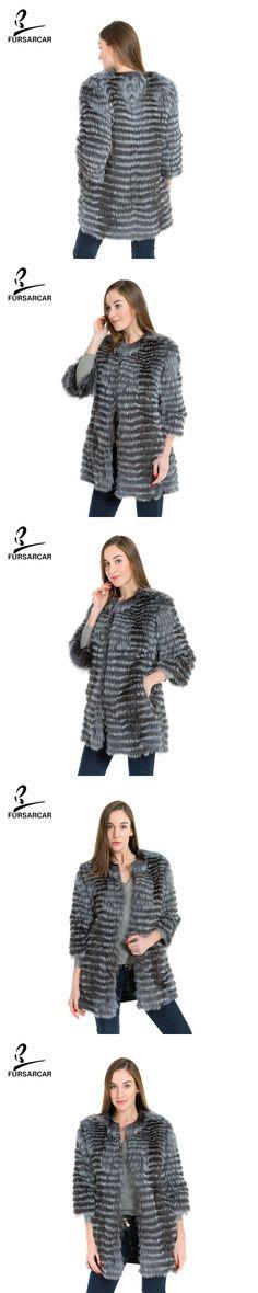 FURSARCAR Real Fox Fur Coat Silver Fox Women Fur Fluffy Fox Fur Slim Vest Lady Genuine Leather Jacket Coat With Pocket BF-C0006