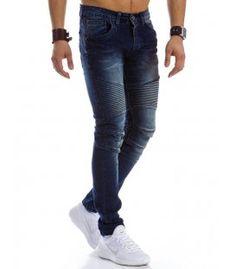 Pánske riflové tmavomodré nohavice