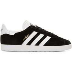 adidas Originals Black Gazelle Sneakers (345 RON) ❤ liked on Polyvore featuring shoes, sneakers, black, lace up sneakers, black leather shoes, adidas originals shoes, adidas originals sneakers and leather sneakers