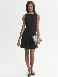Banana Republic Black Drop Waist Dress 8 | eBay