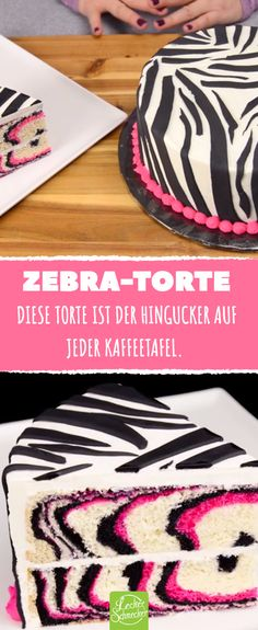 Rezept für farbenfrohe Zebra-Torte