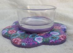Polymer Clay Candle Holder, Fimo  and glass , Purple Candel Holder, Decorative candle holder on Etsy, $28.84 CAD