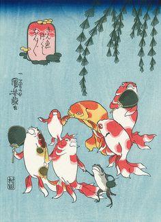 """Utagawa Kuniyoshi ~ Kingyozukushi Series「金魚づくし ぼんぼん」""""Kingyozukushi bonbon"""""""