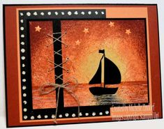 handmade card by Michelle Zindorf ... luv how she turns her cards into works of art ...  Swirly Bird sailboat in a sunset scene ... fab card!
