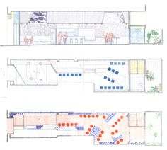 Refurbishment of Bar El Villa - Vermuteria del Mar,Section and Plan Sketches