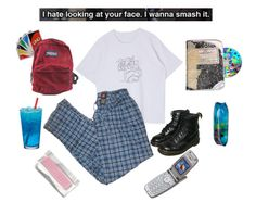"""god, i can't wait for school to end"" by lemonscentedgay on Polyvore featuring Vision, Dr. Martens and JanSport"