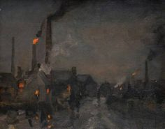 Edwin Butler Bayliss, Black Country, Night, with Foundry - But in the 1800's, as the Industrial Revolution progressed, large parts of the country were transformed into new towns and cities centred around mines, iron foundries & factories. Edwin Butler Bayliss was the son of an iron foundry owner and he taught himself to paint. His subject was the new industrial landscape and the people in his paintings are dwarfed by the scale of excavation, building, burning & manufacturing around them.