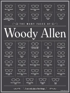 The many frames of Woody Allen. So many glasses to choose from! Always amazing eyewear.