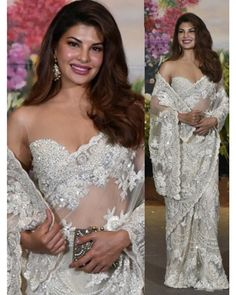 white net heavy embroidered bollywood style wedding saree