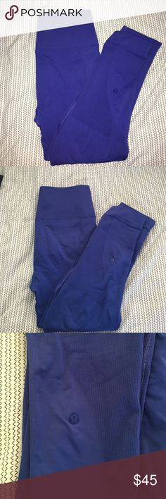 Lululemon zone in crop Color is sapphire, GUC SOME WEAR IN SEAT. Small faint black line as pictured on front left leg at bottom. Price reflects. No tears, or pilling otherwise. lululemon athletica Pants