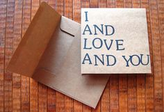 I And Love And You: Avett Brothers Lyrics Greeting by PortlandAve