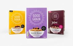 Good Grain Cereal Rebrand on Packaging of the World - Creative Package Design Gallery Cereal Packaging, Tea Packaging, Food Packaging Design, Brand Packaging, Food Branding, Packaging Ideas, Blog Design Inspiration, Packaging Design Inspiration, Grains