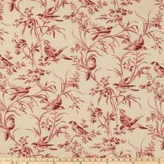 Rouge Aviary Toile Home Decor Fabric - thinking of this lovely toile fabric for my farmhouse dining table redo. Dining Table Redo, Bedroom Sitting Room, Master Bedroom, Farmhouse Style, Farmhouse Decor, Ethnic Print, Home Decor Fabric, Fabric Swatches, Hobby Lobby