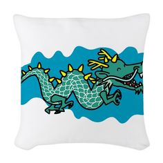 animal, chinese, chinese dragon, dragon, happy, mythical, smiling dragon - throw pillow