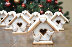 Winter, white, bird & birdhouse, 3D #cookies  LilaLoa: February 2013