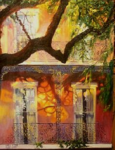 karla gilson hunt oil painting french quarter building in new orleans