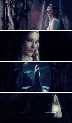 Galadriel: … the Ring of Adamant was in the Land of Lórien where dwelt the Lady Galadriel. A queen she was of the woodland Elves, the wife of Celeborn of Doriath, yet she herself was of the Noldor and remembered the Day before days in Valinor, and she was the mightiest and fairest of all the Elves that remained in Middle-earth…