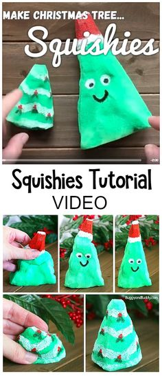 DIY Christmas Tree Squishy Toys: This Christmas craft makes a great sensory play material and is a hit with the kids! Use the toy squishies as a stress reliever, as a fidget toy, or just for fun. Post includes tips on making these with younger children. ~ BuggyandBuddy.com #squishies #homemadetoys #sensoryplay #christmascraft #christmascraftforkids #christmastreecraft #fidgettoys