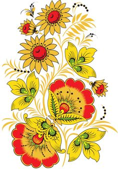 Folk Khokhloma painting from Russia. Floral pattern. #art #folk #painting Russian