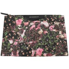 Preowned 2015 Givenchy Floral Envelope Bag ($284) ❤ liked on Polyvore featuring bags, handbags, multiple, genuine leather purse, floral purse, summer leather handbags, floral handbags and genuine leather handbags