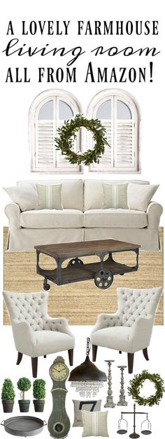 A lovely living room design with all items from Amazon! Great cottage style & farmhouse style home decor inspiration. A must pin!