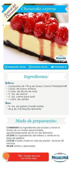 Cheesecake e xpress. Köstliche Desserts, Delicious Desserts, Dessert Recipes, Yummy Food, Un Cake, Mini Cheesecakes, Sweet Cakes, Cheesecake Recipes, Sweet Recipes
