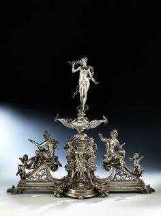 Silver Centerpiece, Centerpieces, Vintage Silver, Antique Silver, Silver Work, Fine Art Auctions, Table Arrangements, Arts And Crafts, Art Deco