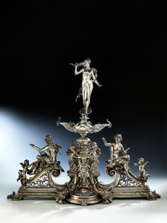 Vintage Silver, Antique Silver, Silver Centerpiece, Silver Work, Fine Art Auctions, Table Arrangements, Arts And Crafts, Art Deco, Ivory