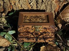 Small Wood Burned Jewelry Box by TheForestNymph on Etsy, $18.00