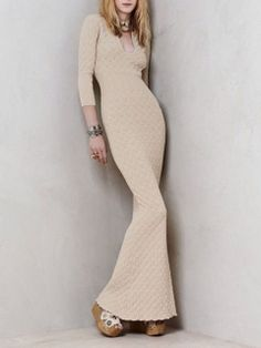 Beige Kinted Long Sleeves Fishtail Maxi Dress-Chioes Limited. BUY it for $135.99 on www.lnk.do/FV26k!