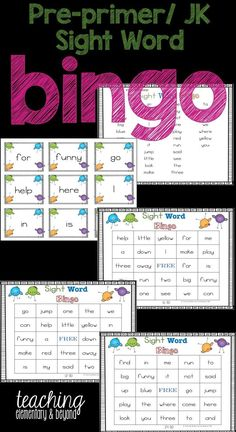 This fun pre-primer sight word bingo sent is based on the dolch word set and has enough cards for the whole class to play or for small group instruction! Your Kindergarten students will love being engaged with this fun game! Alphabet Activities, Teaching Activities, Guided Reading Strategies, Sight Word Bingo, Pre Primer Sight Words, Teaching Sight Words, Kindergarten Curriculum, Students, Play