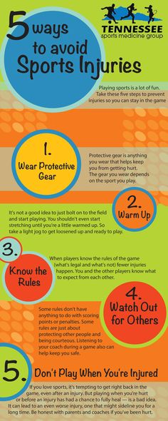 Playing sports is a lot of fun. Getting hurt is not. Take these five steps to prevent injuries so you can stay in the game:  Wear protective gear, such as helmets, protective pads, and other gear. Warm up and cool down. Know the rules of the game. Watch out for others. Don't play when you're injured. Let's find out more about each of these.