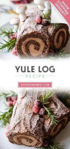 Chocolate Yule Log Recipe, Chocolate Roll Cake, Chocolate Diy, Christmas Chocolate, Chocolate Ganache, Christmas Yule Log, Christmas Baking, Christmas Cakes, Magical Christmas