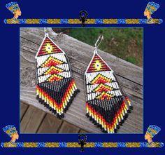 Long 4 1/2 inch Fringed Beaded Earrings Aztec