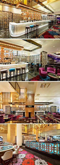 The Luxury_Crown Casino Atrium Bar, Melbourne Australia {_Lasvit-Crystal-Wall_Glass for Architecture} Hotel Lounge, Bar Lounge, Cafe Restaurant, Restaurant Design, Waterfront Restaurant, Club Bar, Casa Retro, Interior Design Images, Lounge Design