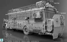 Killer Bus by Mohammad javad jalilpour Zombie Survival Vehicle, Zombie Apocalypse Survival, Emergency Preparedness, Post Apocalyptic Games, Arte Steampunk, Military Tactics, Chihiro Y Haku, Wasteland Weekend, Futuristic Cars
